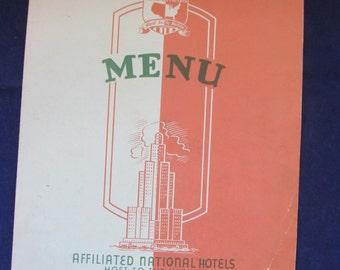 Vintage Hotel Cactus Menu- Affiliated National otels