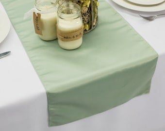 Sage L'amour Satin Table Runner | Wedding Table Runners