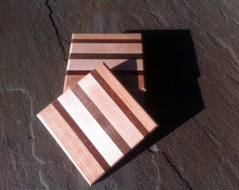 Cutting Board Style Square Wood Coasters Walnut Mahogny Maple and Cherry