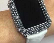 Apple Iwatch Bling Bezel~38mm/42mm~Dark Gray/Silver Faded Ombre~Pearl & Swarovski Crystal~Sparkle Glitz Case