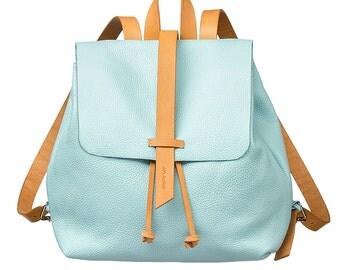 Woman Mini backpack, blue leather backpack, Leather Tote bag, women bag,  Leather small backpack, handmade backpack, women backpack