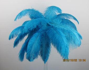 50 pcs turquoise Ostrich Feather Plume for Wedding centerpieces, Samba accessories