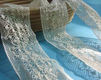 5cm Cream cotton Trim-Crochet Lace Border - Wedding Sew Vintage Craft-MXT021-2yards