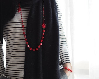 Necklace:  The Peninsula Necklace - N057 - jewelry, red coral, bamboo red coral, natural, long necklace, red, brass, gift
