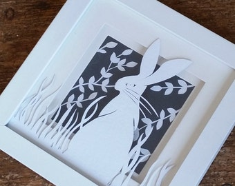 FRAMED PAPERCUT  Hare in the grass