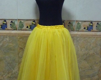 Yellow Black Red Tulle Skirt Adult Knee Length Floor Women