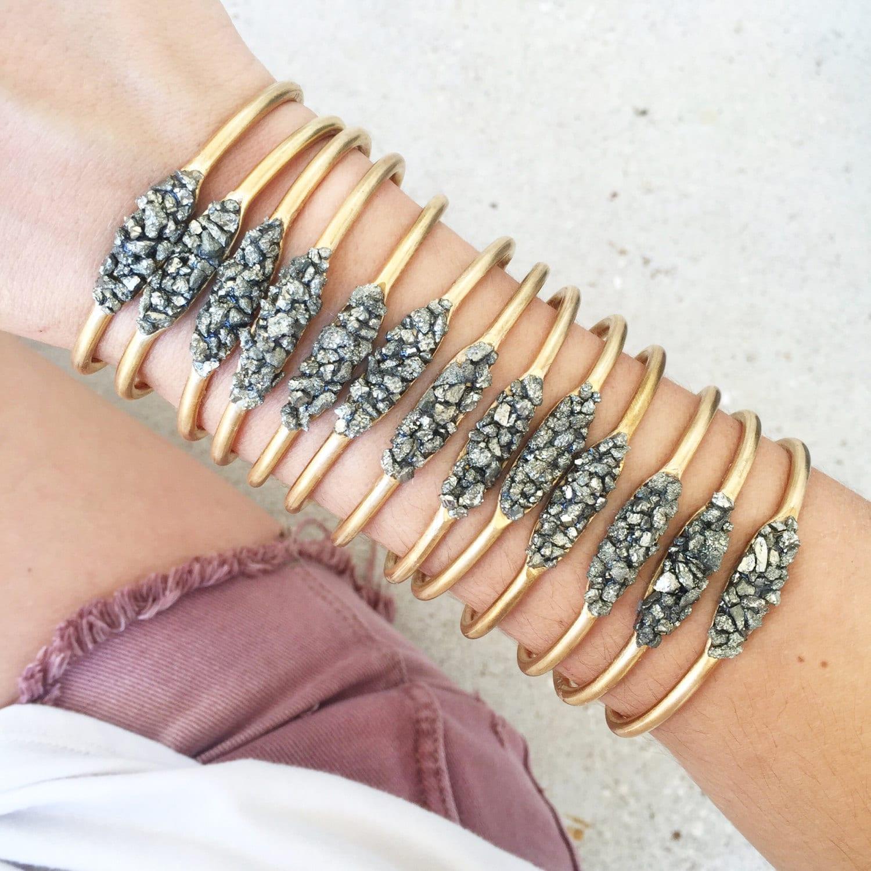 Crushed Pyrite Cuff Bracelet // Pyrite Bracelet / Crushed Stone Bracelet