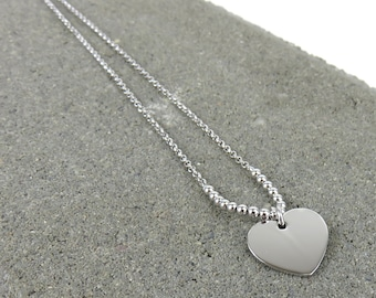 Personalised Silver Heart & Bead Necklace - Free Engraving