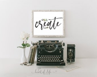 Create print Creative art quote Printable art print Floral wall art Home office decor Wall art for office Artist decor HEART OF LIFE Design