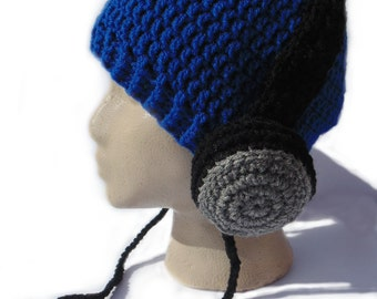 Headphone Hat - Blue and Gray