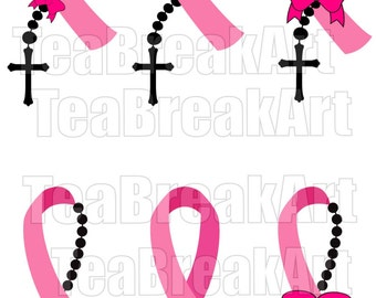 Breast Cancer Awareness with rosary Cutting Files SVG PNG EPS dxf ClipArt Instant Download iron on heat transfer shirt decal 577C