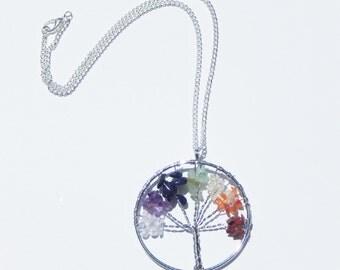 Chakra Tree Of Life Necklace, Chakra Necklace, Tree of Life Necklace, Chakra Tree of Life Pendant, Tree of Life Pendant, Gemstone Necklace