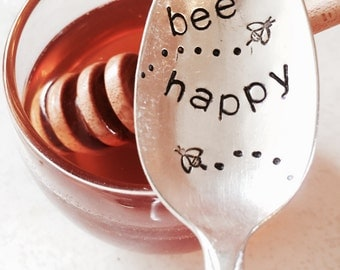 Stamped Silver Spoon, Inspirational Quotes, Be Happy, Gift For Her, Stamped Silver, Coffee Spoon, Positive Inspirational Gift, Honey Spoon