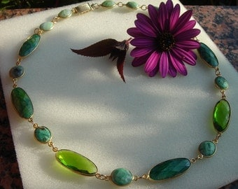 Necklace with Peridot Crystal and emerald in combination!