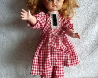 "Vintage Dee An Cee Girl Doll 18"" - with a  cute checkered outfit"
