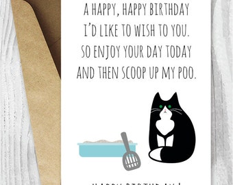 Printable Funny Birthday Cards, Black and White Cat Cards, Cat Birthday Cards Instant Download, Printable Tuxedo Cat Cards, From the Cat