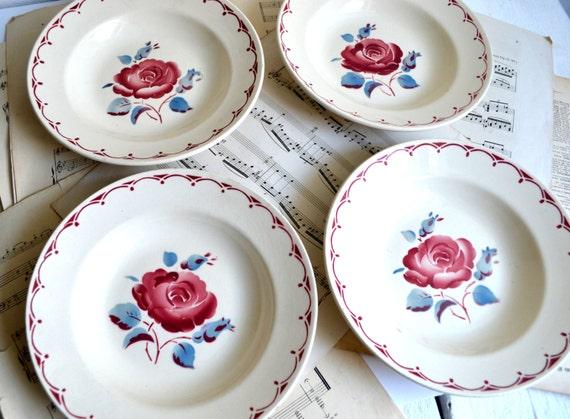 4erset antik franz sisch ironstone geschirr rote rose - Kinderzimmer franzosisch ...