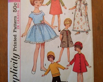 1965 Simplicity 8 inch Doll Dress Pattern