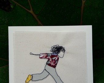 Catch me if you can! - Hand embroidered greetings card