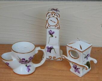 Miniature Grandmother Clock Shaving Mug Sedan Chair by Hammersley of England / Bone China Miniatures from England with Purple Flowers