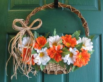 Gerber Daisy Wreath, Daisy Door Hanger, Basket Wreath