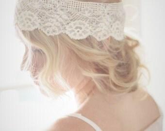 Antique lace boho wedding headband