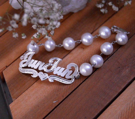 18th Birthday Cz T Bar Sterling Silver Heart Bracelet Can: Personalized Name Pearl Bracelet In By Gvantsasfinedesigns