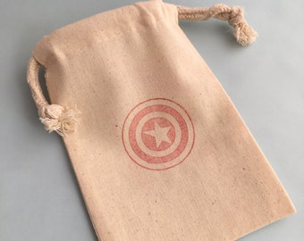 Captain America Favor Bags: Superhero Muslin Drawstring Bags With Captain America Shield Design