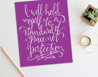 Grace Not Perfection Quote // Art Print // Inspirational Quote