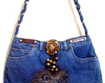 Lion -- Denim Handbag -- Item Number 1180 -- 16 Pockets