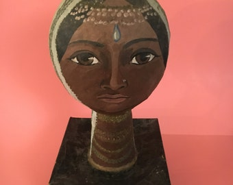 Vintage Paper Mache Head Stunning Ethnic Woman in Traditional Headdress Mid Century Hand Painted Art OOAK Handmade