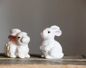 Ceramic Bunny Rabbit Figurines | Set of 2 | White Rabbit | Bunny | Easter | Decoration