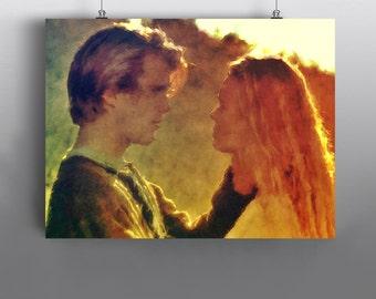 The Princess Bride  -  Westley and Princess Buttercup Art Print, Mixed Media Watercolor Poster,  No109