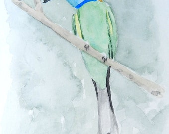 Green Bird - 4x6 Original Watercolor Painting