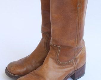 1970's Men's Florsheim Idlers// Light Brown Cowboy Motorcycle Boots// Sz 10 1/2