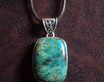 Necklace ethnic pendant Chrysocolla stone