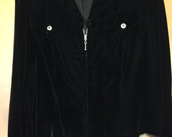Coldwater Creek Black Rayon Velvet Military Style Jacket with Polyester Lining and Ornate Zip Front in Misses 12