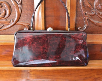 Brown Patent Clutch Purse, 60s Formal Bag, Short Strap Gold Clasp