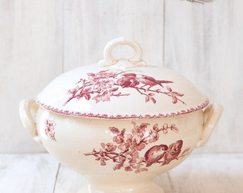 Early 1900s French Large Ironstone Tureen  - Sarreguemines Favori - Red Transferware - Free Shipping Within the USA