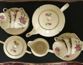 Chodziez, tea Set roses, mid century tea service, Chodziez tea sets, porcelain roses, Christmas gift, Bohemian tea set, Serviesset shabby chic