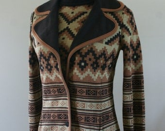 60's Gino Paoli  Mod Brown Wool Monochrome Short Sleeve Mock Neck Shirt & Matching Blazer Abstract Aztec Pattern Made in Italy Size 12 M-783