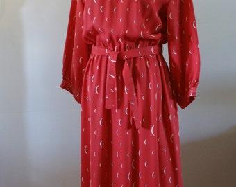 Hugh Garber For H E II Toronto Vintage 70's Haute Couture Red Tea Dress Size Medium - JW-001