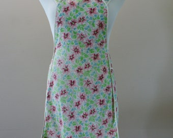 Floral 1950's Vintage Cotton Bib Apron with Ruffle Pink Green and Blue BT-539