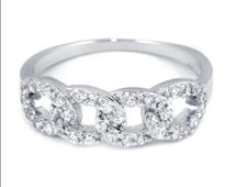 Micro Pave Cubic zirconia Interlocking Link CZ Sterling Silver Band Ring Fashion Cocktail Trendy Chic