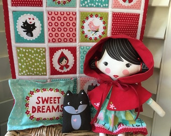 Fabric Doll with Hood , 4 Piece Little Red Riding Hood Cloth Doll Set WITH HOODED CAPE  , Child Friendly Doll ,  Stacy Iset Hsu Design