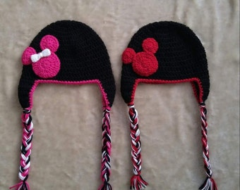 FREE SHIPPING-Crochet teen/adult Mickey or Minnie mouse beanie...Coupon code:THANKYOU18