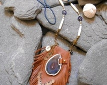 """Necklace """"NATIVE AMERICAN Pouch Medicine Bag"""" Inspired, Leather, Seed beads, Bronze pampilles, Agate slice, Bone beads, Glass beads"""