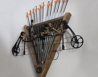 Barn Wood Bow & Arrow Rack for Archery