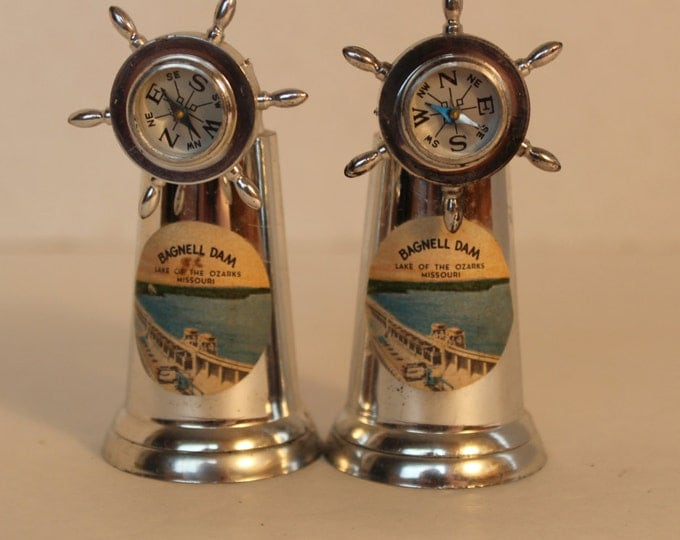 Vintage Ship Wheel Compass Salt and Pepper Shakers