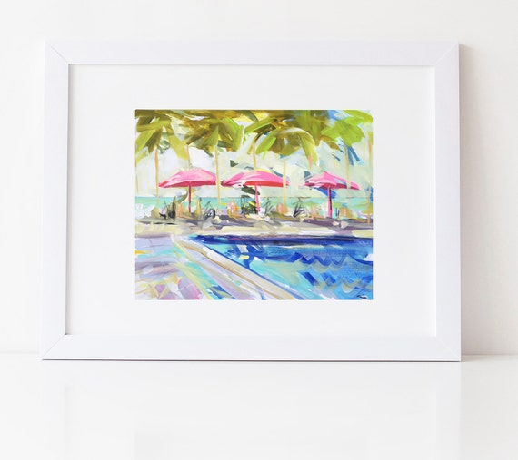 Swimming Pool Print Home Decor Wall Art Watercolor